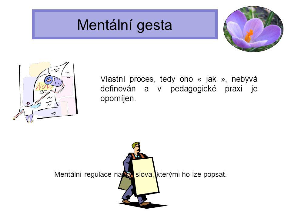 Mentální gesta Vlastní proces, tedy ono « jak », nebývá definován a v pedagogické praxi je opomíjen.