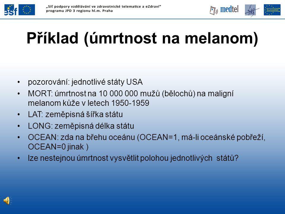 Příklad (úmrtnost na melanom)