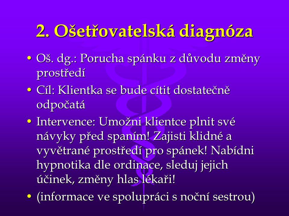 2. Ošetřovatelská diagnóza