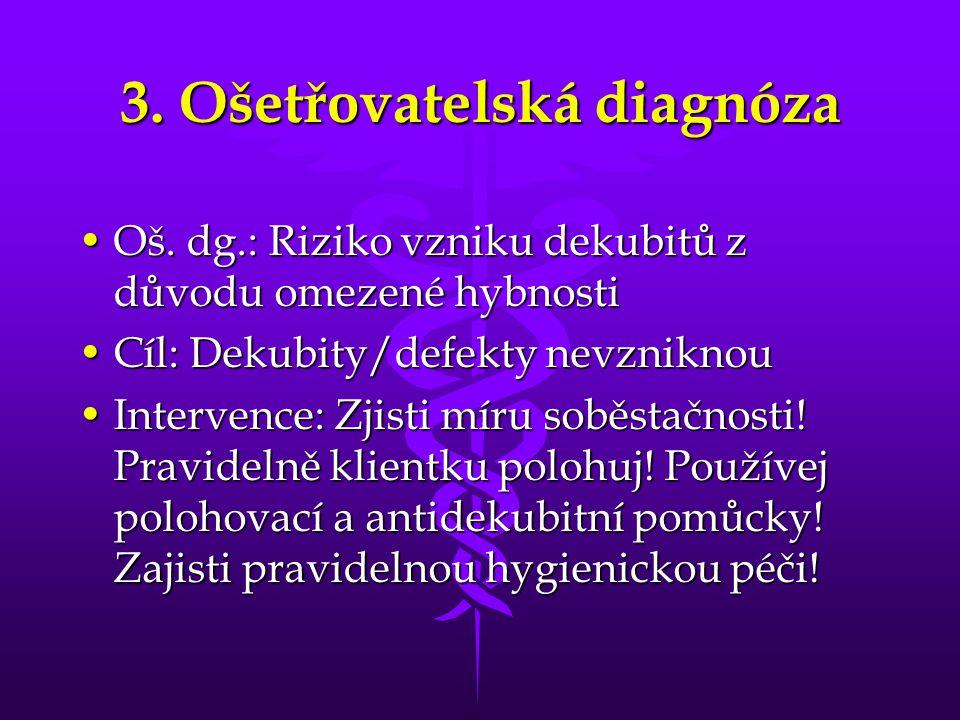 3. Ošetřovatelská diagnóza