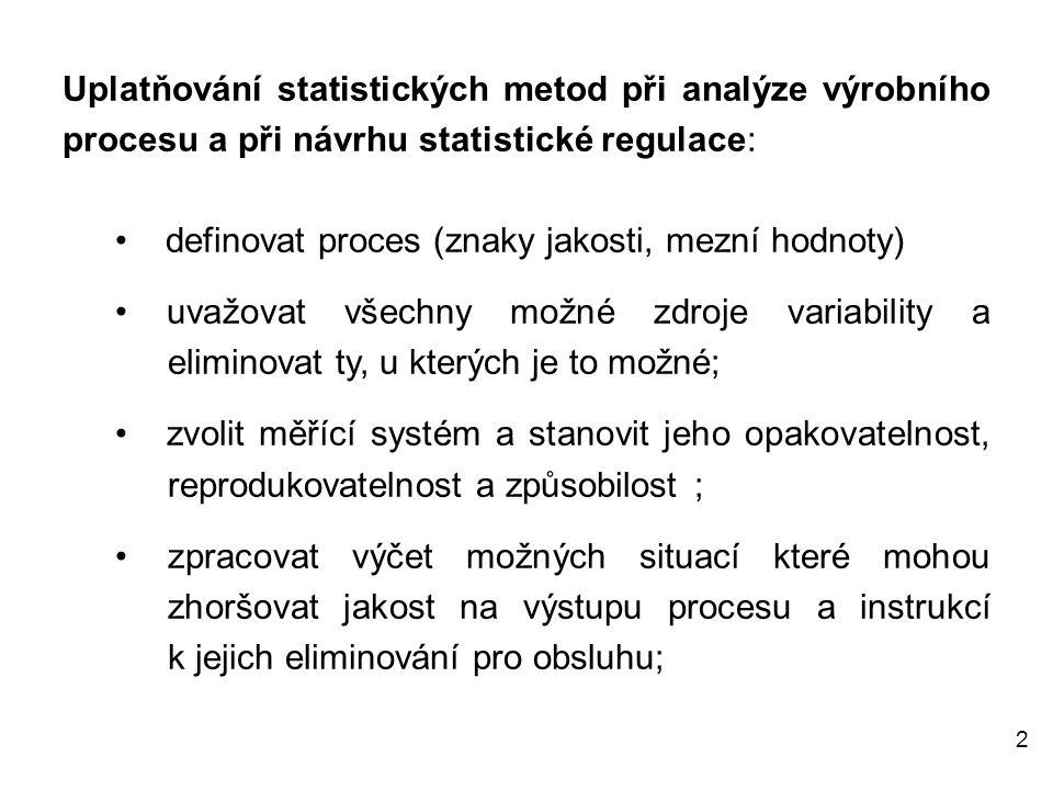 Uplatňování statistických metod při analýze výrobního procesu a při návrhu statistické regulace: