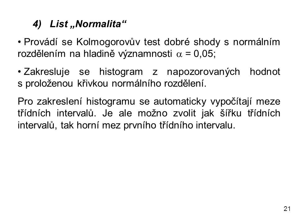 """4) List """"Normalita Provádí se Kolmogorovův test dobré shody s normálním rozdělením na hladině významnosti a = 0,05;"""