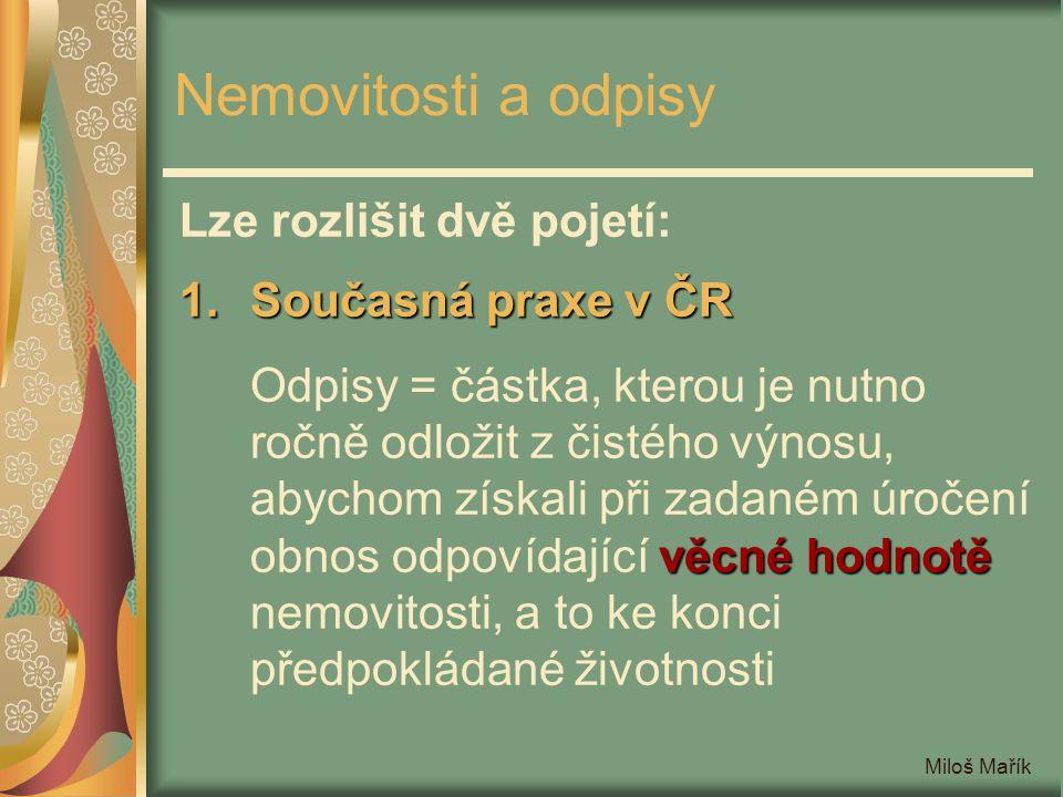 Nemovitosti a odpisy Lze rozlišit dvě pojetí: Současná praxe v ČR