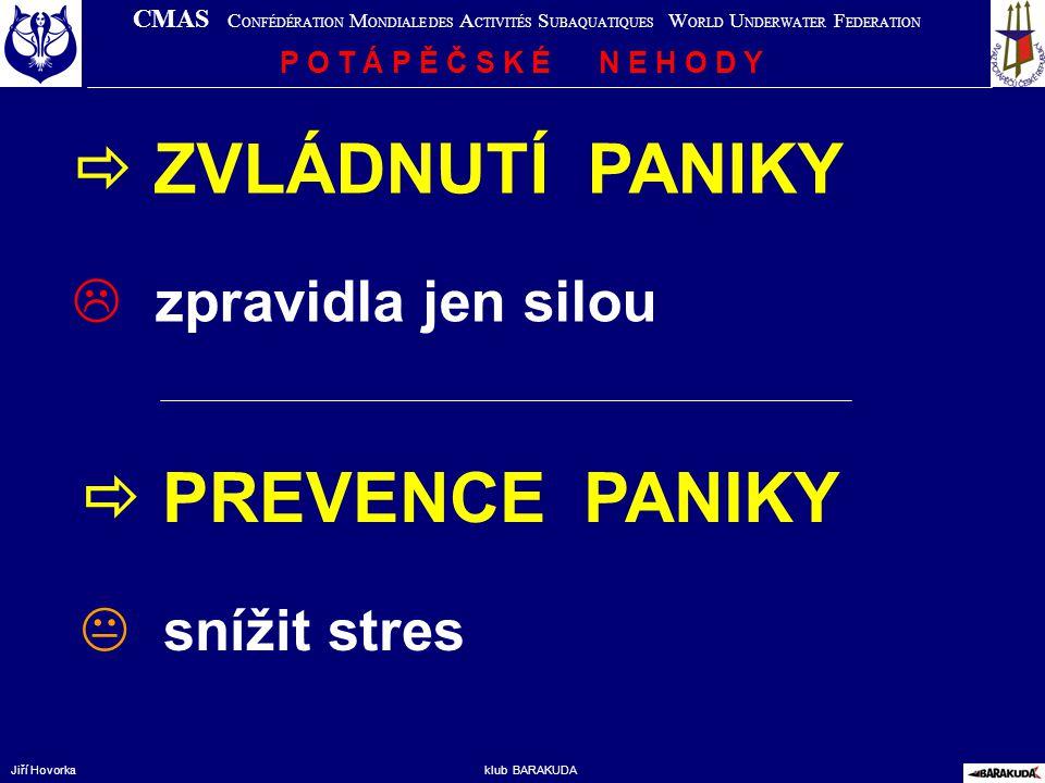  ZVLÁDNUTÍ PANIKY  PREVENCE PANIKY zpravidla jen silou snížit stres