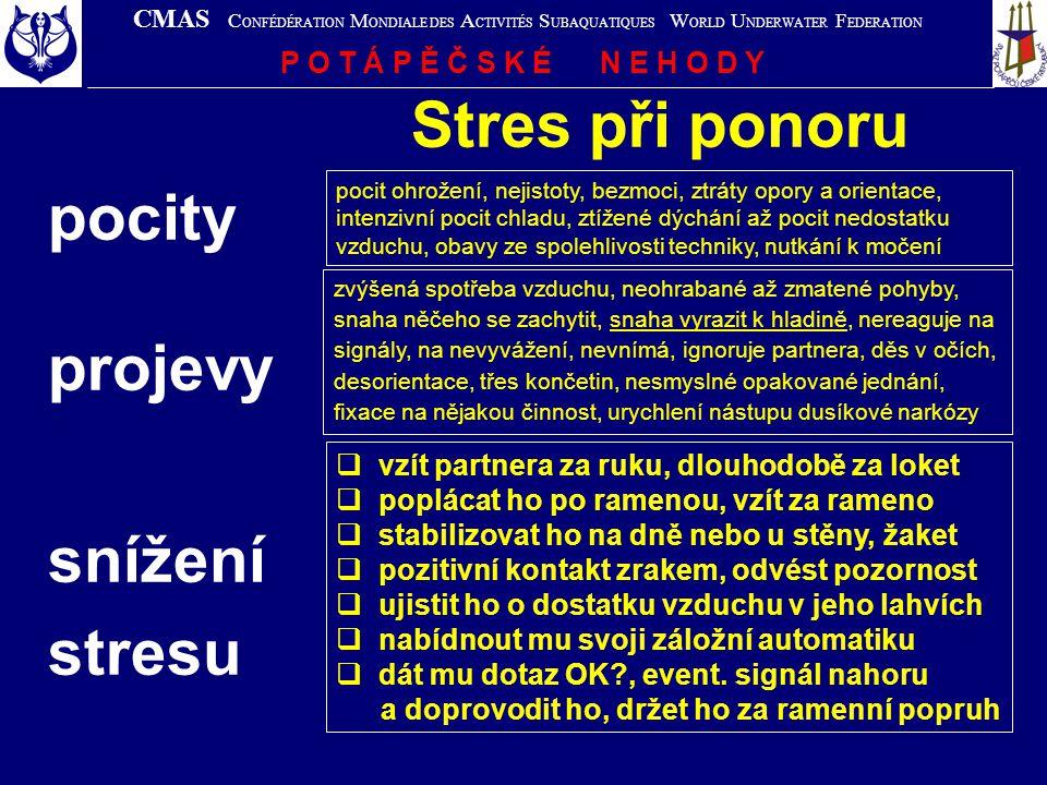 Stres při ponoru pocity projevy snížení stresu