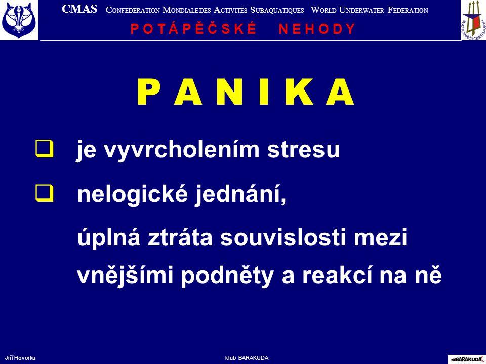 P A N I K A je vyvrcholením stresu nelogické jednání,