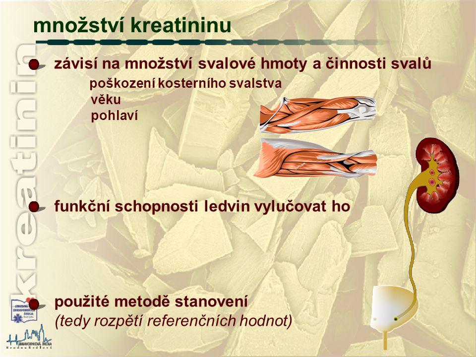 množství kreatininu závisí na množství svalové hmoty a činnosti svalů