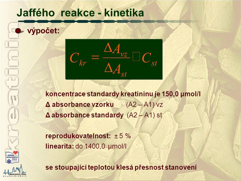 C A ´ D = Jaffého reakce - kinetika st vz kr výpočet: