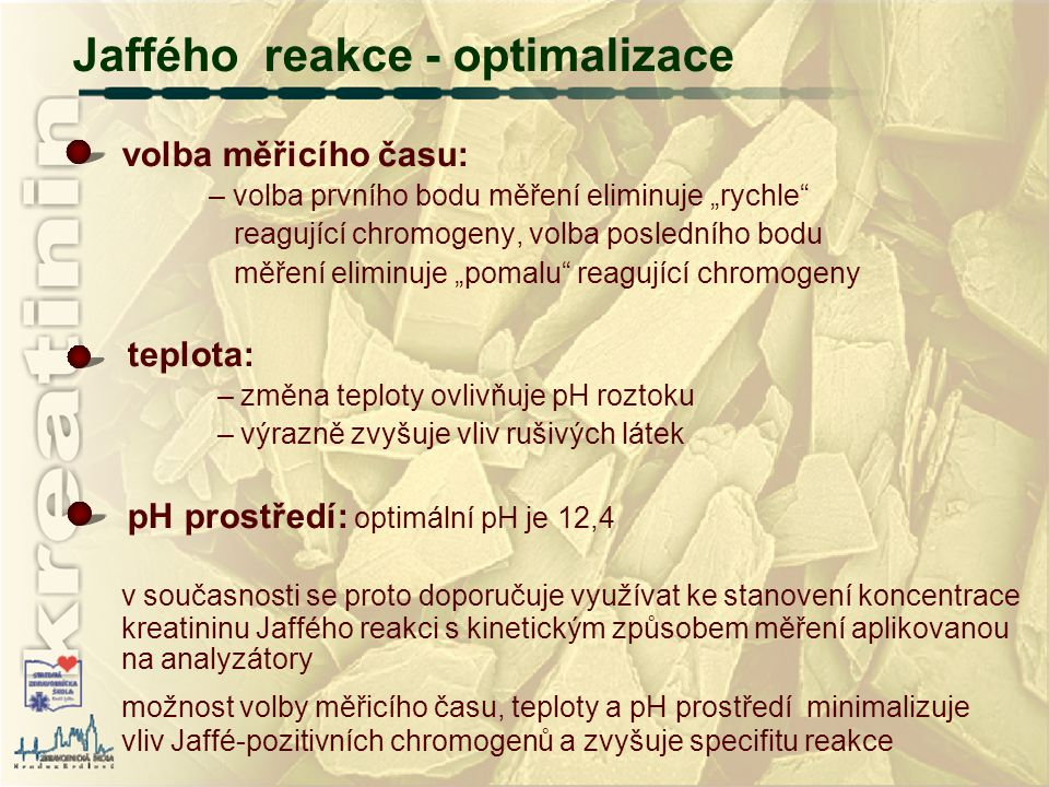 Jaffého reakce - optimalizace