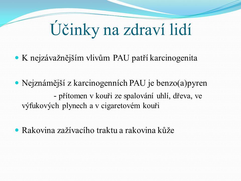 Účinky na zdraví lidí K nejzávažnějším vlivům PAU patří karcinogenita