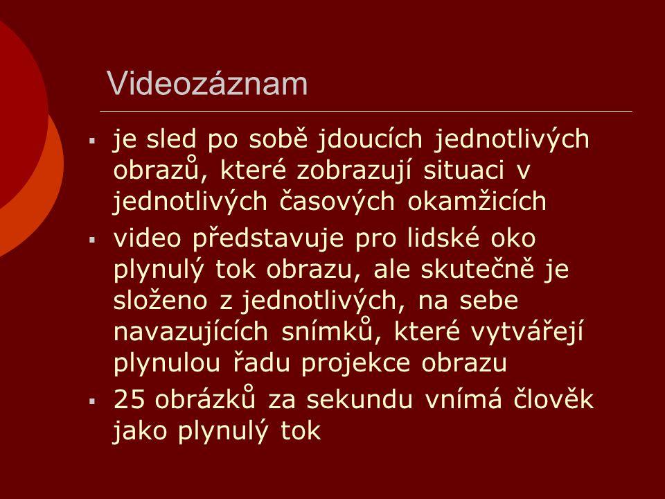 Videozáznam je sled po sobě jdoucích jednotlivých obrazů, které zobrazují situaci v jednotlivých časových okamžicích.