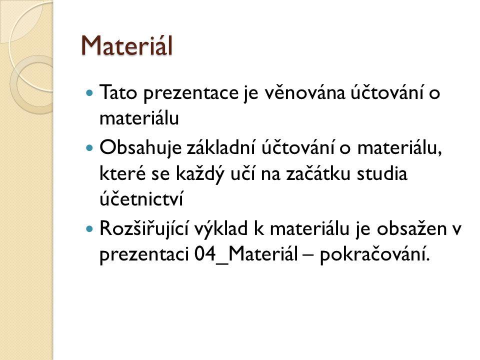 Materiál Tato prezentace je věnována účtování o materiálu