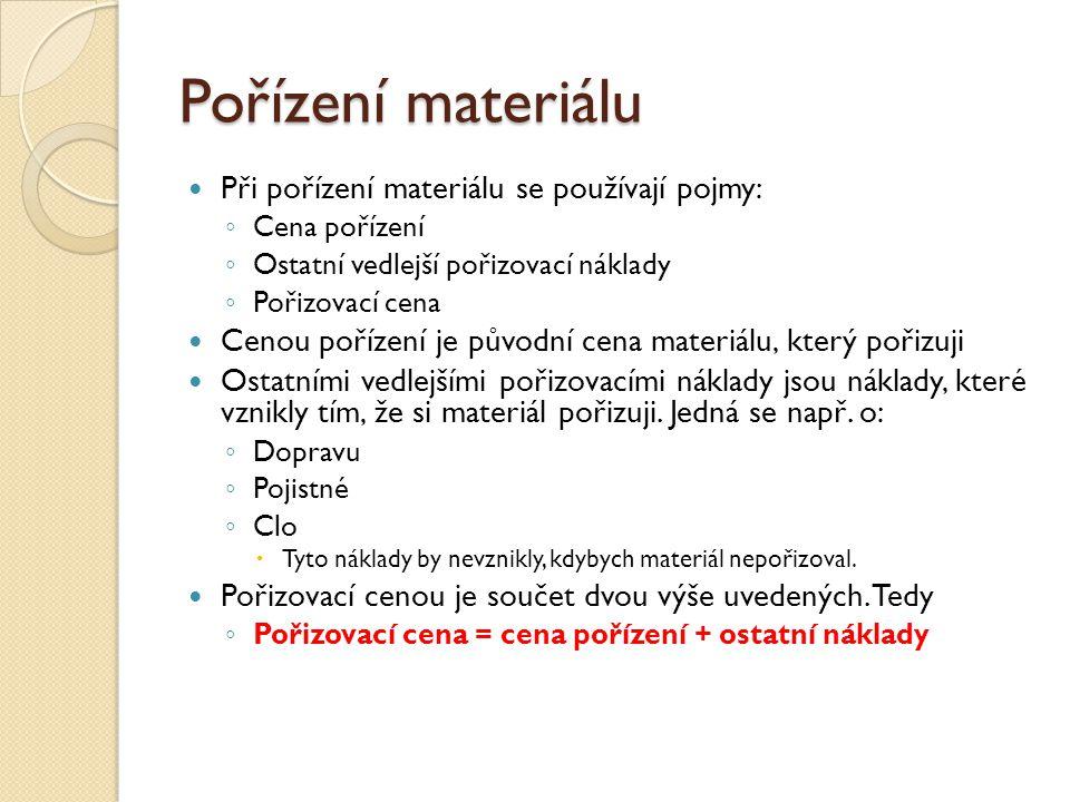 Pořízení materiálu Při pořízení materiálu se používají pojmy: