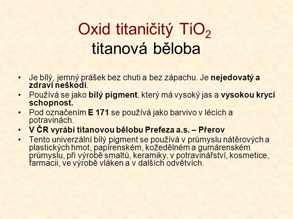 Oxid titaničitý TiO2 titanová běloba