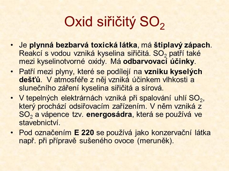 Oxid siřičitý SO2