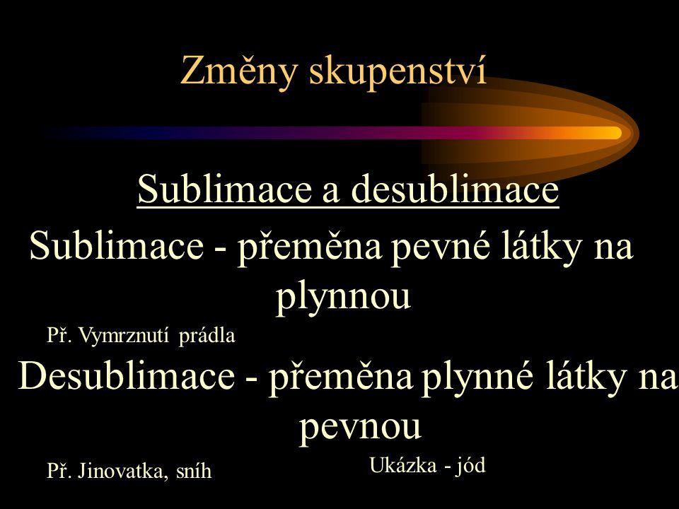 Sublimace a desublimace Sublimace - přeměna pevné látky na plynnou
