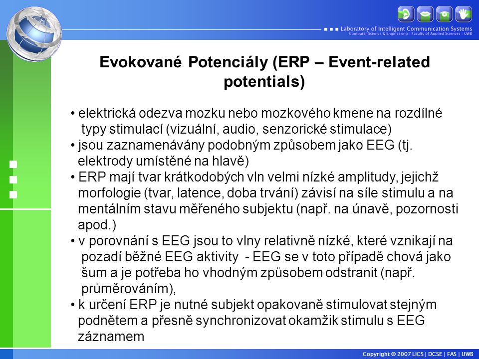 Evokované Potenciály (ERP – Event-related potentials)