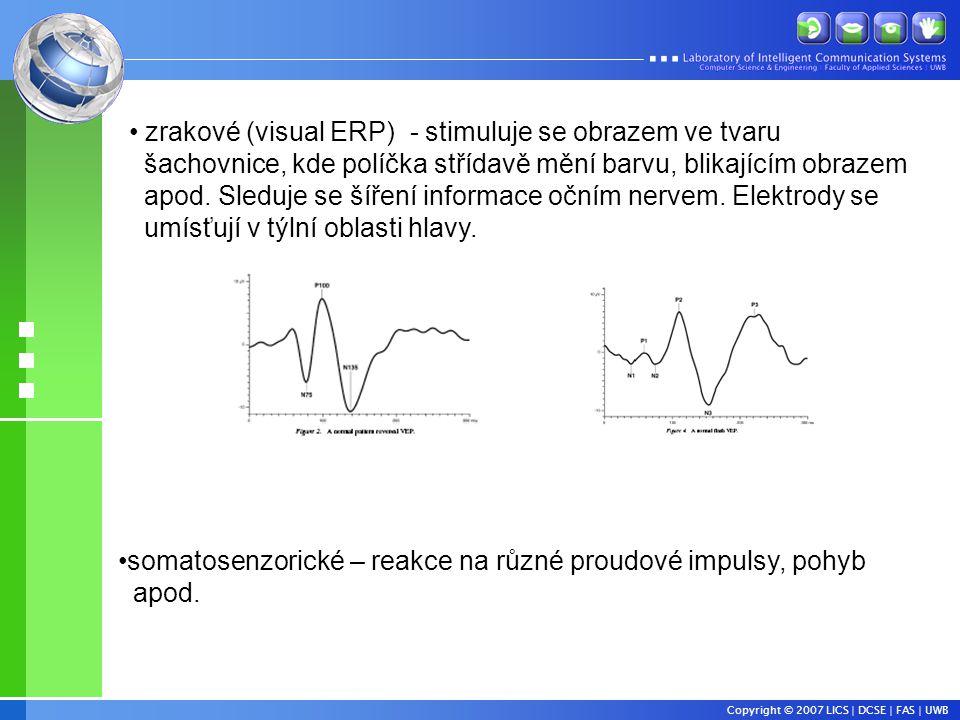 zrakové (visual ERP) - stimuluje se obrazem ve tvaru