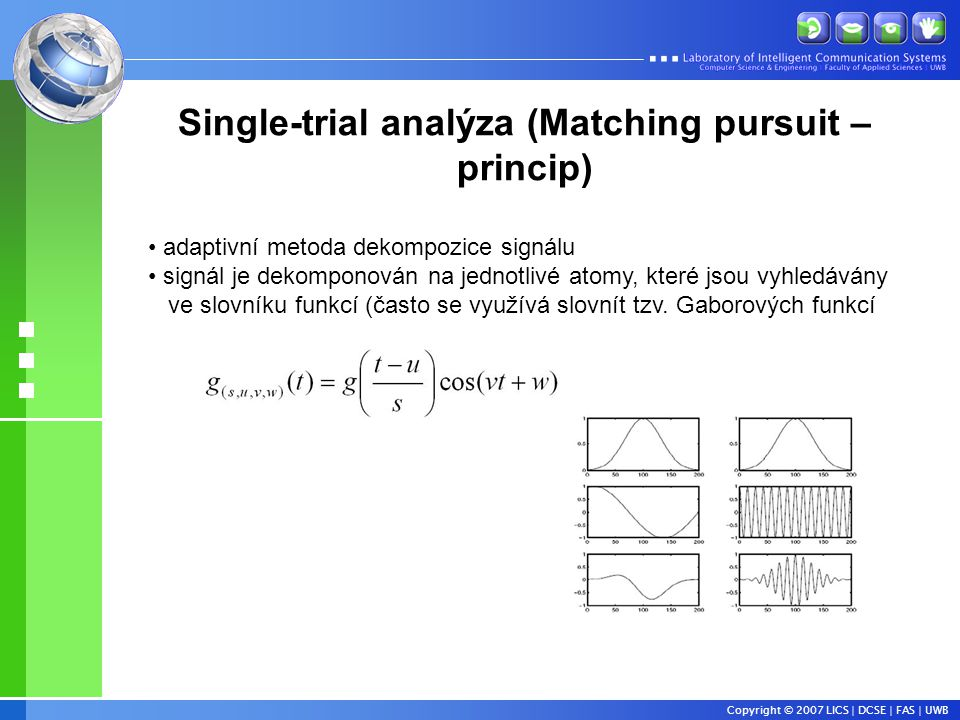 Single-trial analýza (Matching pursuit – princip)