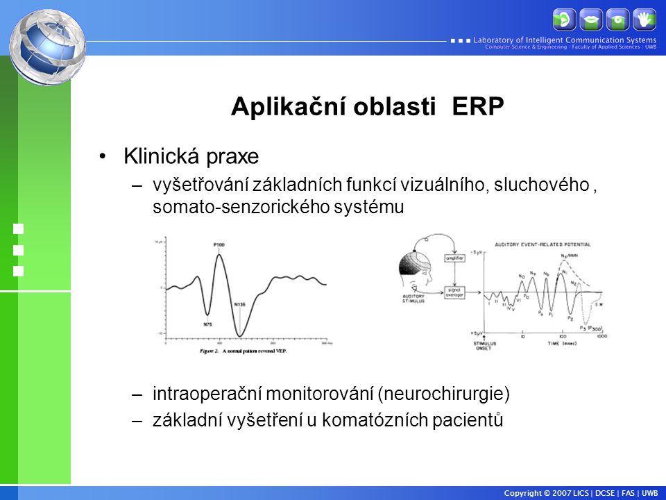 Aplikační oblasti ERP Klinická praxe
