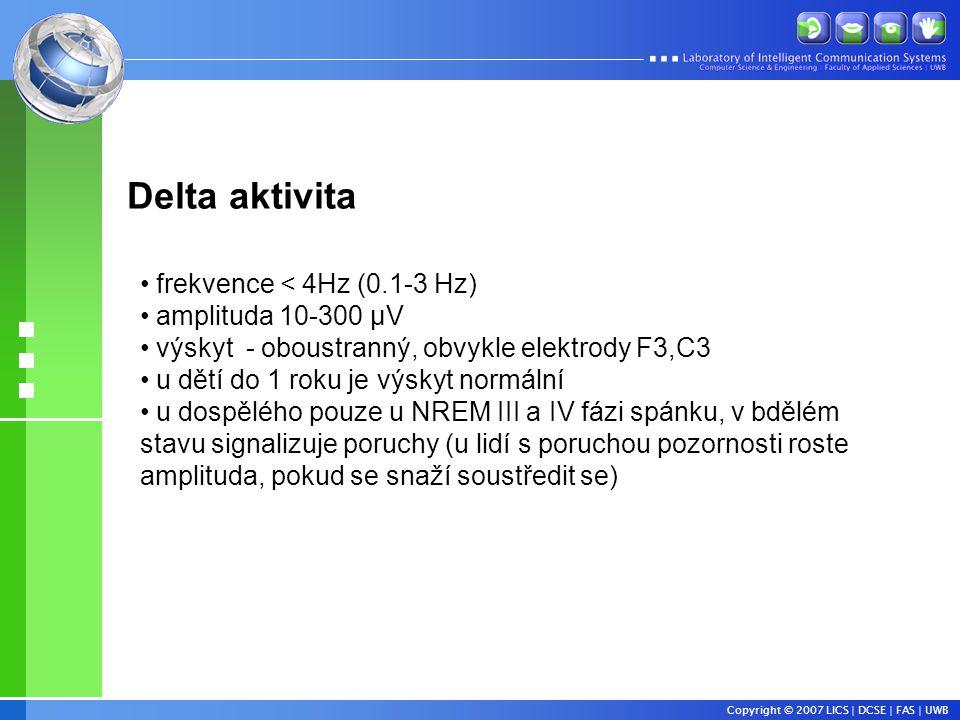 Delta aktivita frekvence < 4Hz (0.1-3 Hz) amplituda 10-300 µV