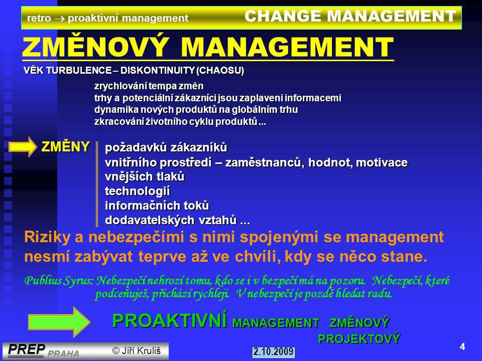 PROAKTIVNÍ MANAGEMENT ZMĚNOVÝ