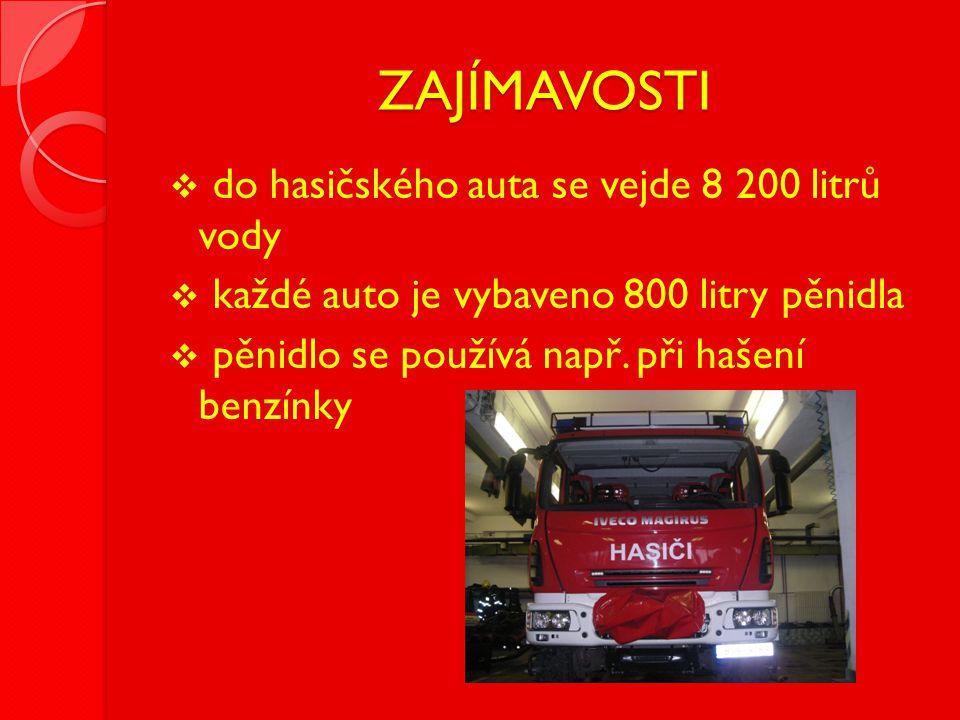 ZAJÍMAVOSTI do hasičského auta se vejde 8 200 litrů vody