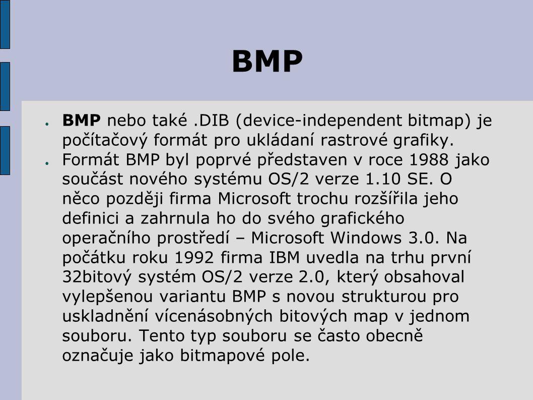 BMP BMP nebo také .DIB (device-independent bitmap) je počítačový formát pro ukládaní rastrové grafiky.