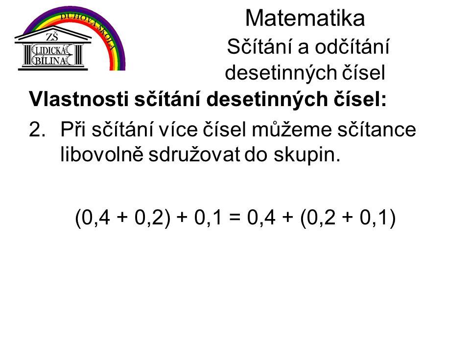 Matematika Sčítání a odčítání desetinných čísel