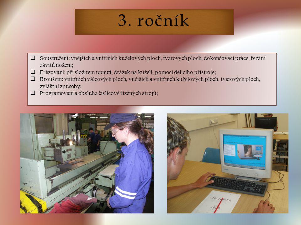 3. ročník Soustružení: vnějších a vnitřních kuželových ploch, tvarových ploch, dokončovací práce, řezání závitů nožem;