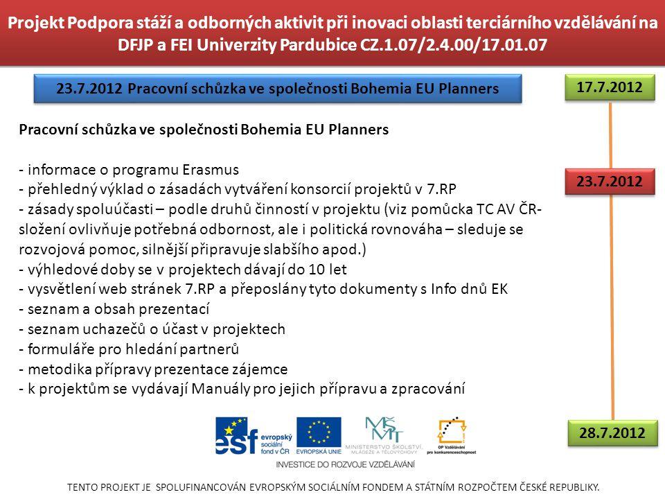 23.7.2012 Pracovní schůzka ve společnosti Bohemia EU Planners