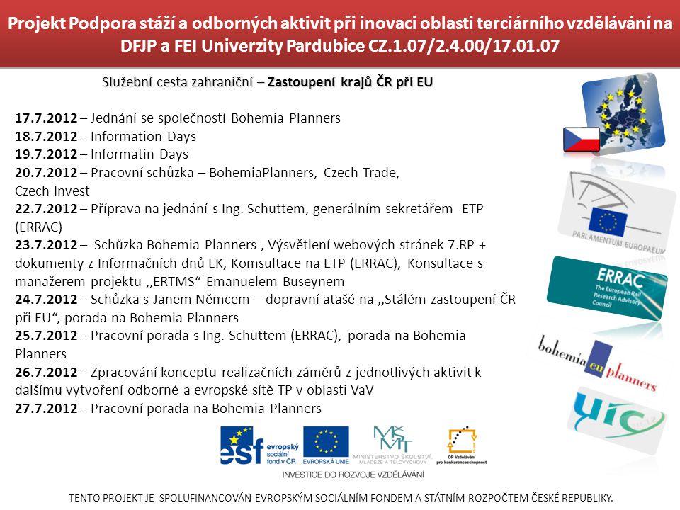 Služební cesta zahraniční – Zastoupení krajů ČR při EU