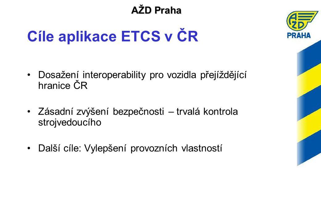 Cíle aplikace ETCS v ČR Dosažení interoperability pro vozidla přejíždějící hranice ČR. Zásadní zvýšení bezpečnosti – trvalá kontrola strojvedoucího.