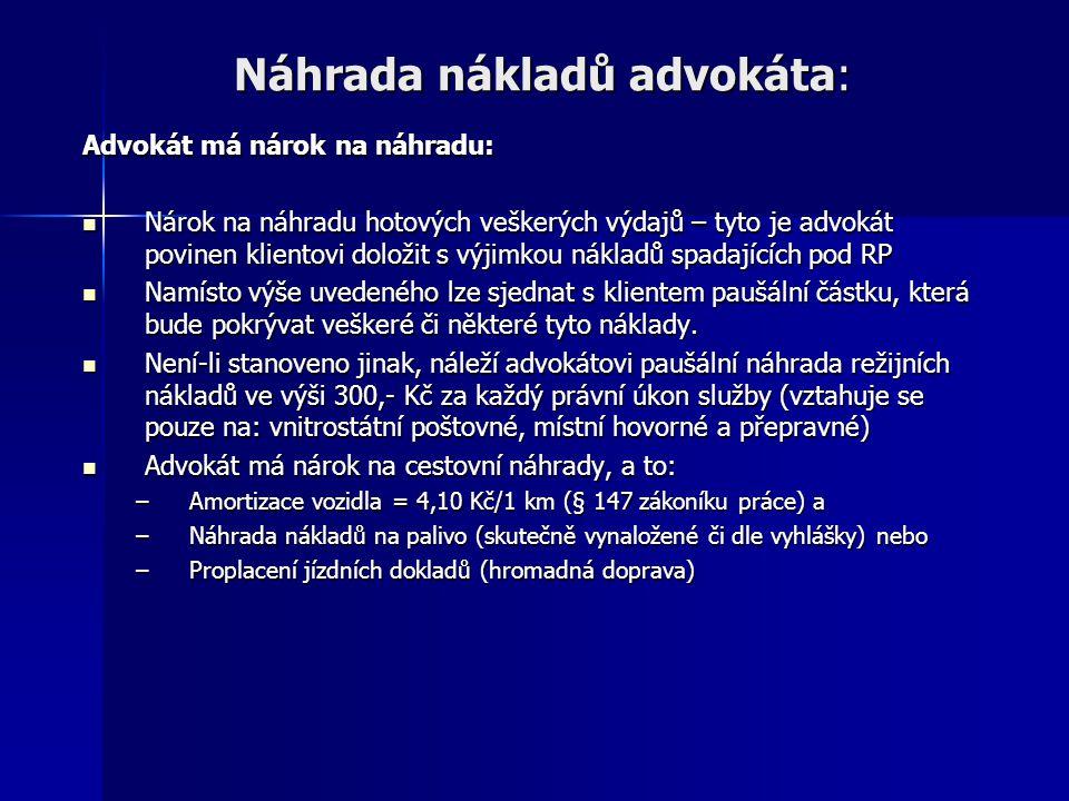 Náhrada nákladů advokáta:
