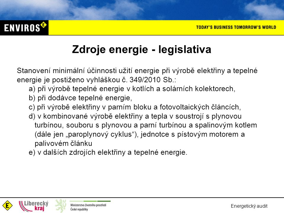 Zdroje energie - legislativa