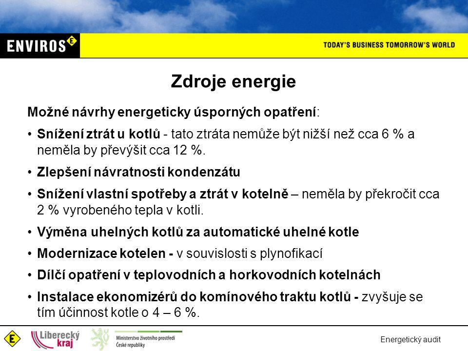 Zdroje energie Možné návrhy energeticky úsporných opatření:
