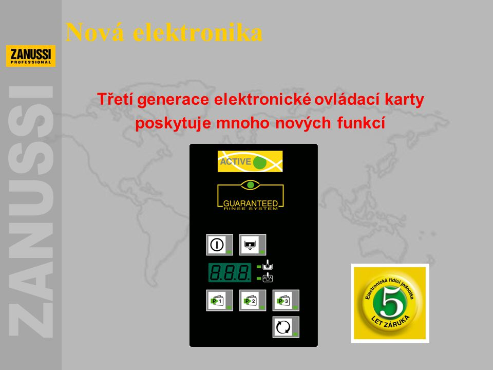 Nová elektronika Třetí generace elektronické ovládací karty poskytuje mnoho nových funkcí