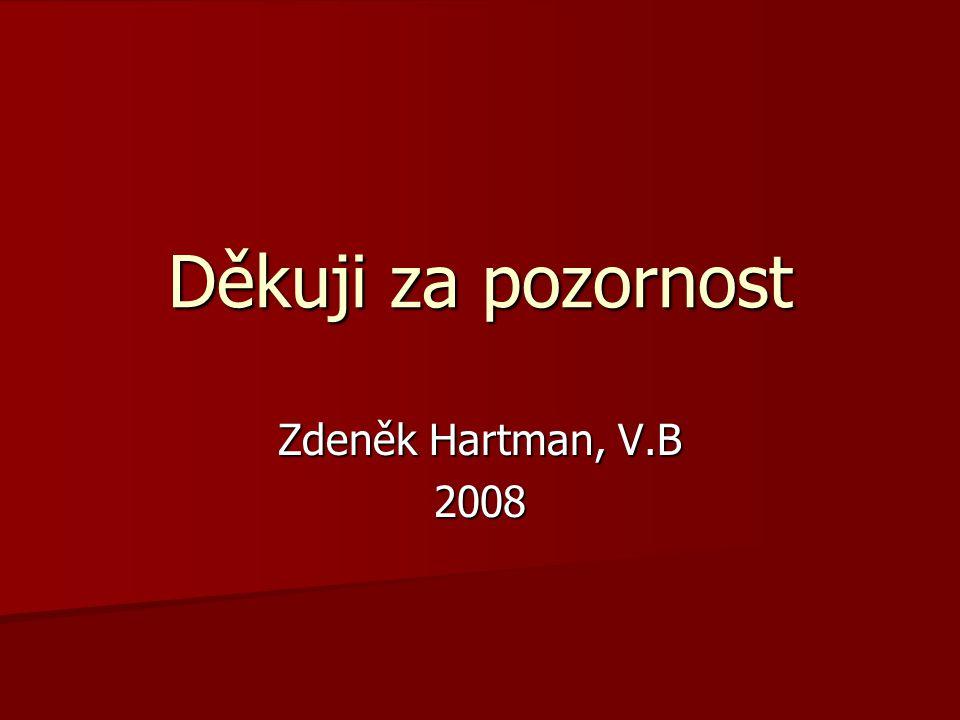 Děkuji za pozornost Zdeněk Hartman, V.B 2008