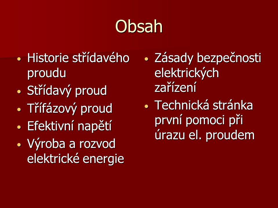 Obsah Historie střídavého proudu Střídavý proud Třífázový proud