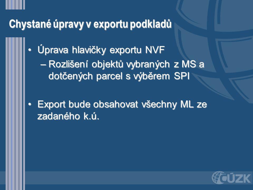 Chystané úpravy v exportu podkladů