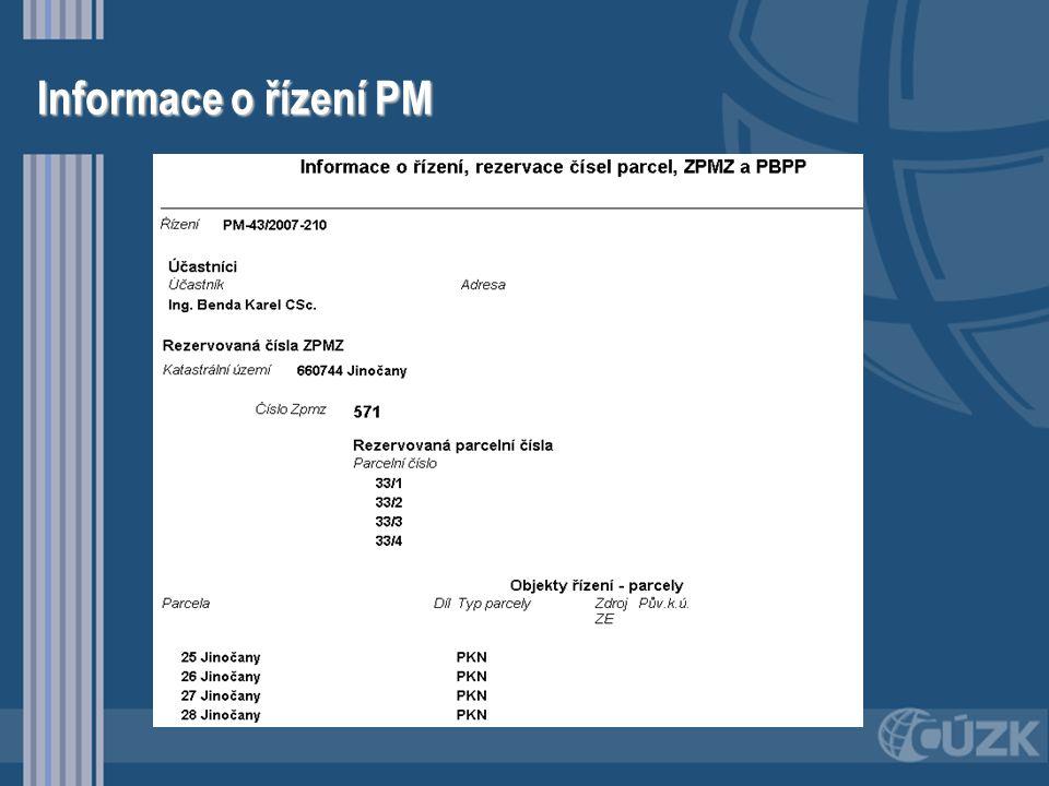 Informace o řízení PM