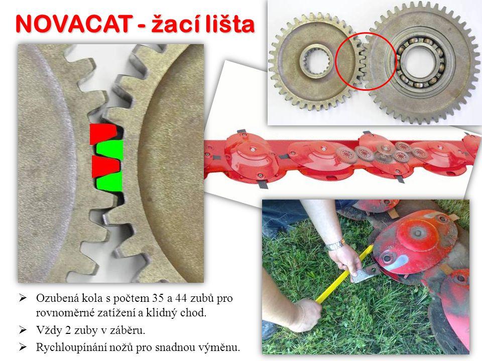 NOVACAT - žací lišta Ozubená kola s počtem 35 a 44 zubů pro rovnoměrné zatížení a klidný chod. Vždy 2 zuby v záběru.