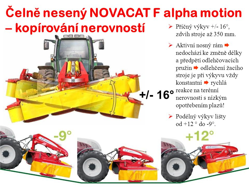 Čelně nesený NOVACAT F alpha motion – kopírování nerovností