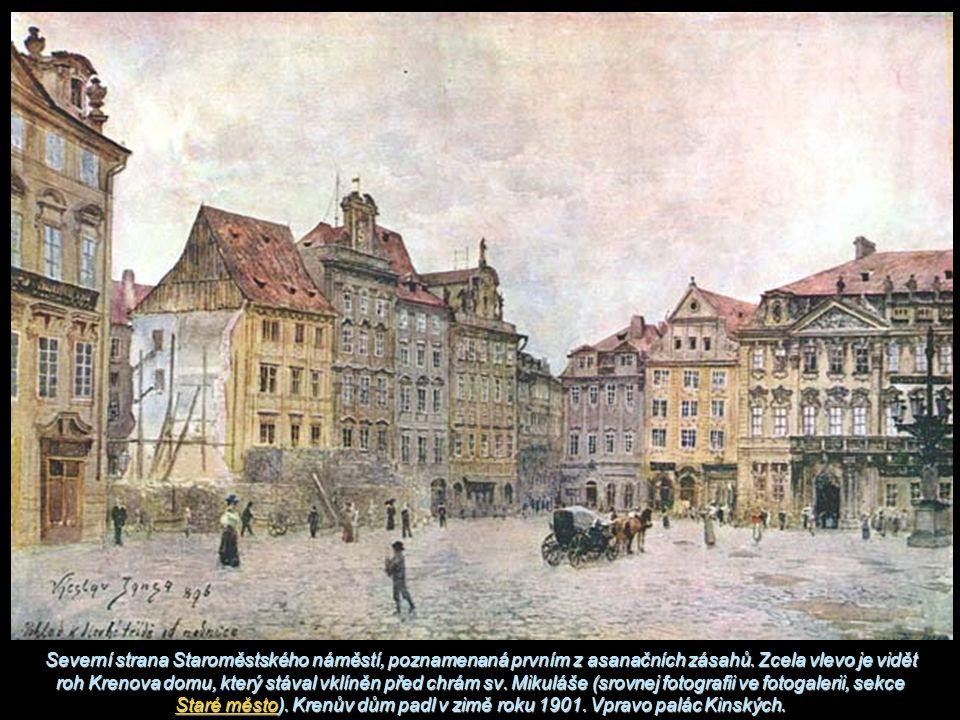 Severní strana Staroměstského náměstí, poznamenaná prvním z asanačních zásahů.