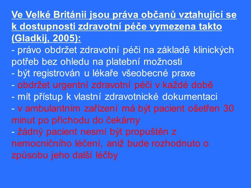 Ve Velké Británii jsou práva občanů vztahující se k dostupnosti zdravotní péče vymezena takto (Gladkij, 2005):