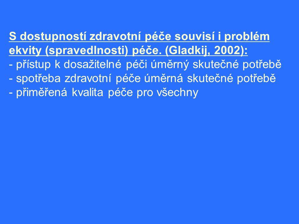 S dostupností zdravotní péče souvisí i problém ekvity (spravedlnosti) péče. (Gladkij, 2002):