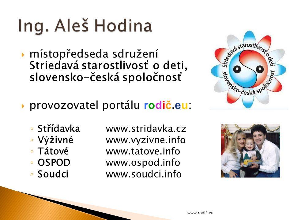 Ing. Aleš Hodina místopředseda sdružení Striedavá starostlivosť o deti, slovensko-česká spoločnosť.