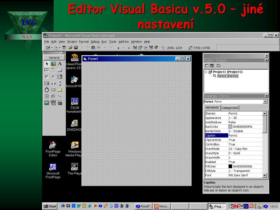 Editor Visual Basicu v.5.0 – jiné nastavení