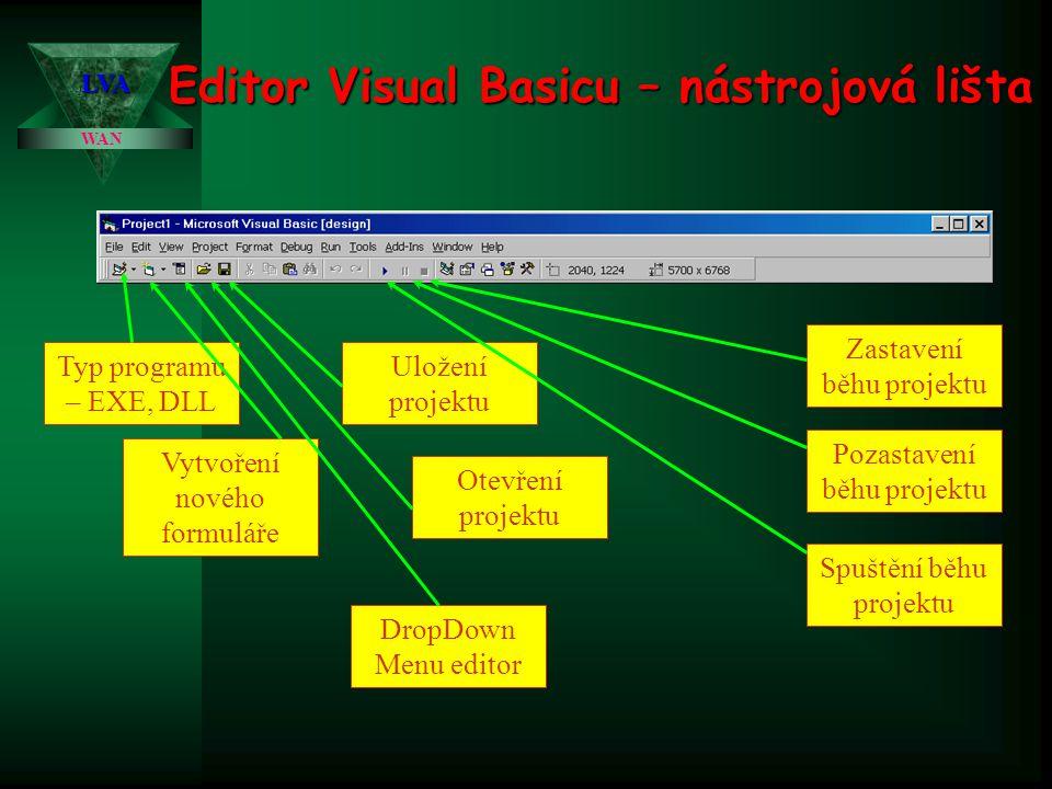 Editor Visual Basicu – nástrojová lišta