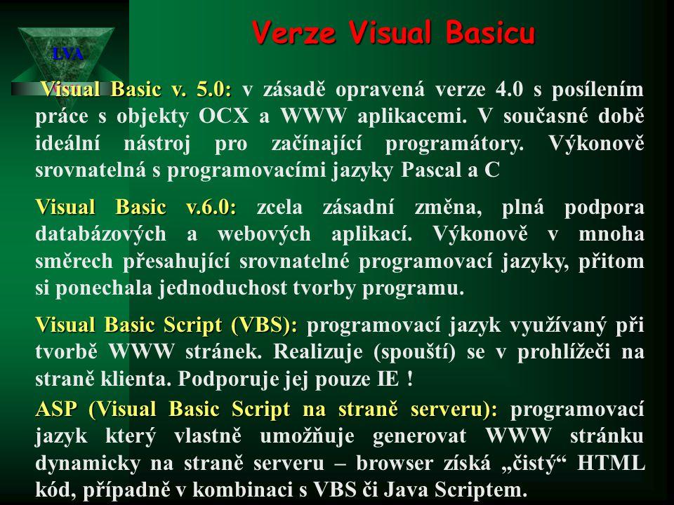 Verze Visual Basicu LVA.